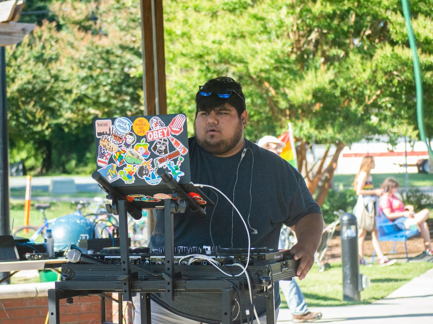 Dj OT King performs at the Chapel Hill Carrboro Small Town Pride Food Truck Rodeo and Dance Party in Carrboro on Thursday June 24, 2021.