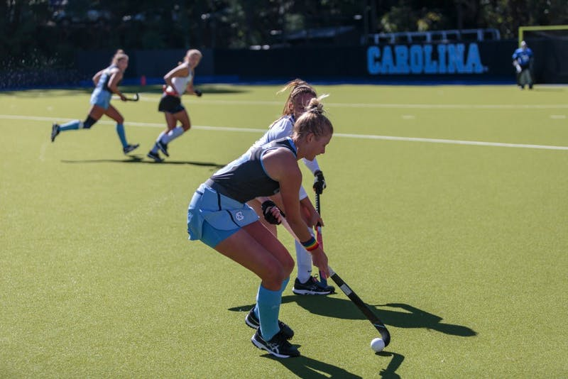 Catherine Hayden (UNC #8) defends the ball from Caroline Hanan (Duke #2) during the game on Sunday, Oct. 21 2018. Hayden scored the first goal of the second half, helping the Tar Heels to a 5-2 victory over Duke.