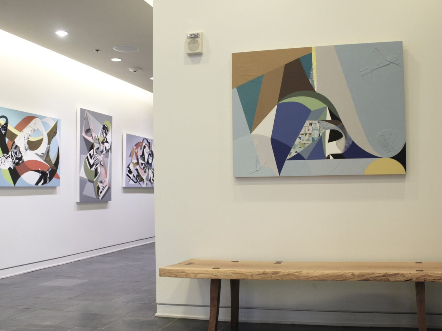 """The """"Transcending Geometry"""" exhibitionhoused by Oneoneone, a contemporary art gallery inside of Sitzer-Spuria Studios, features Chapel Hill artists Chieko Murasugi, Neil Patterson and Louis Watts."""