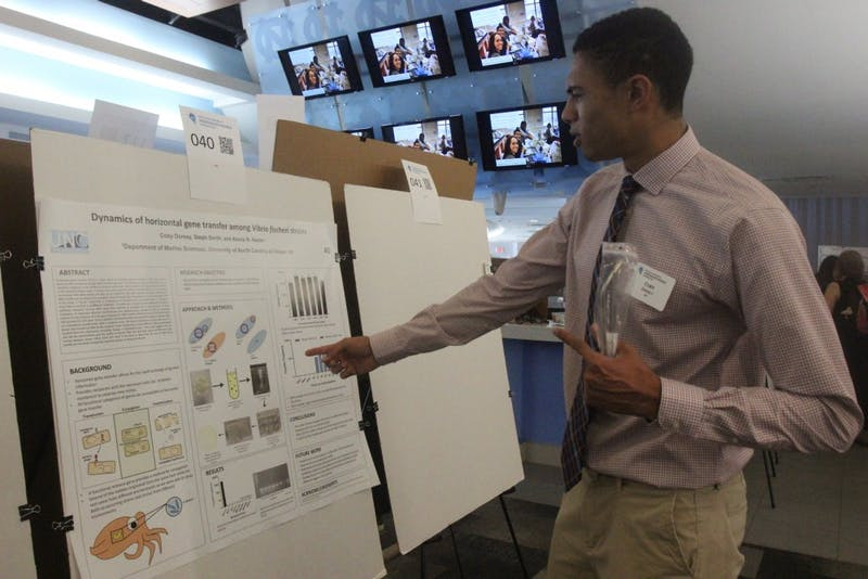"Sophomore chemistry major Coby Dorsey presents his research on Sahar Khalifeh's novel ""Wild Thorns"" at the 20th annual Celebration of Undergraduate Research and Making Expo on Wednesday April 24, 2019 in the Blue Zone in Kenan Stadium."