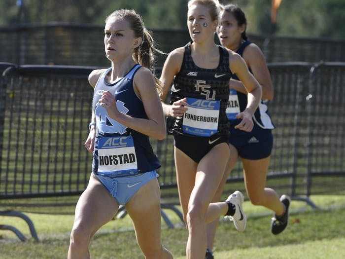 Paige Hofstad runs at the ACC Championship in Cary on Friday, October 30, 2020. Photo courtesy of Jeff Camarati/UNC Athletic Communications.