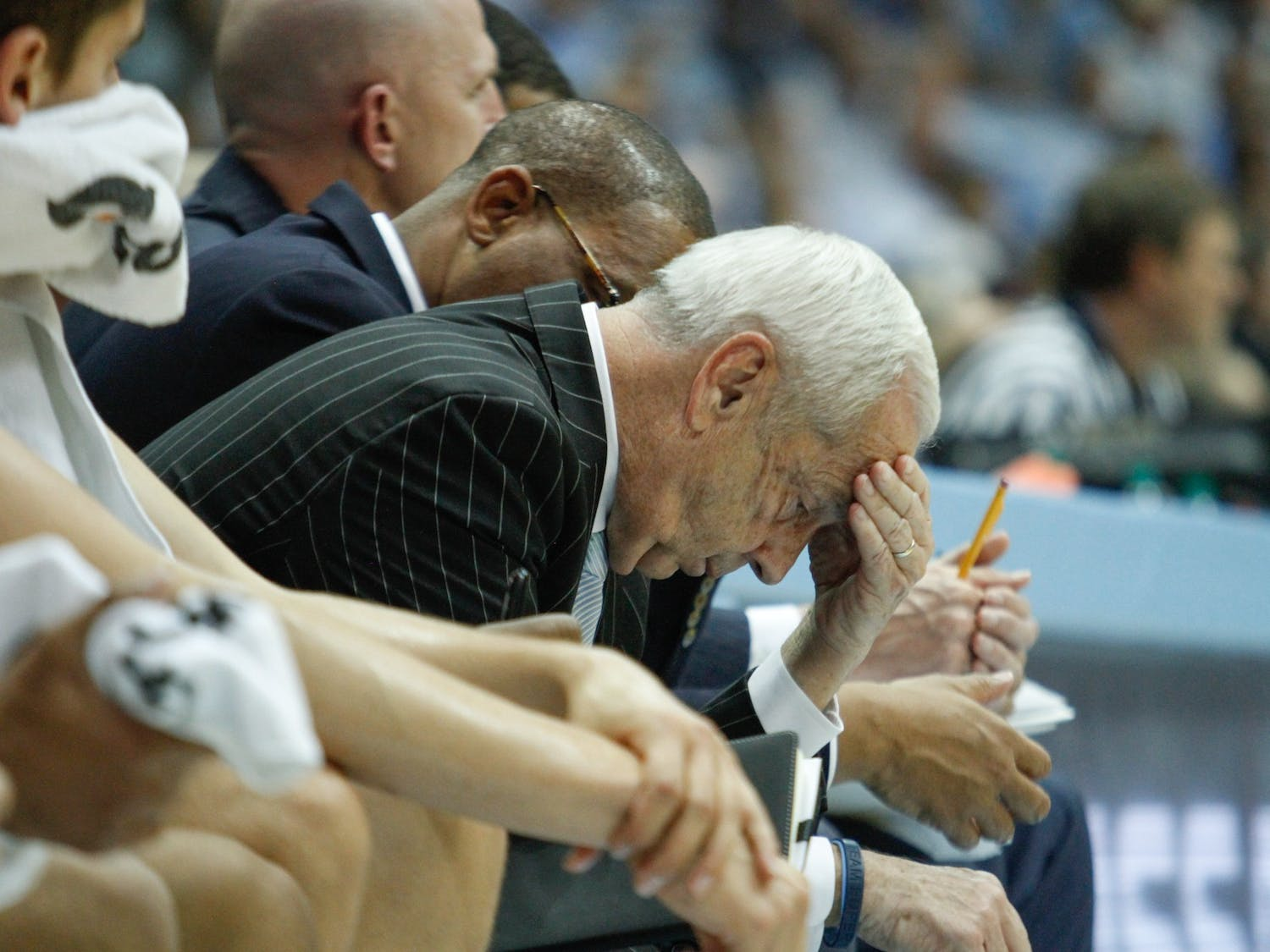 UNC head coach Roy Williams hangs his head near the end of the game against Ohio State in the Smith Center on Wednesday, Dec. 4, 2019. UNC lost to Ohio State 74-49.
