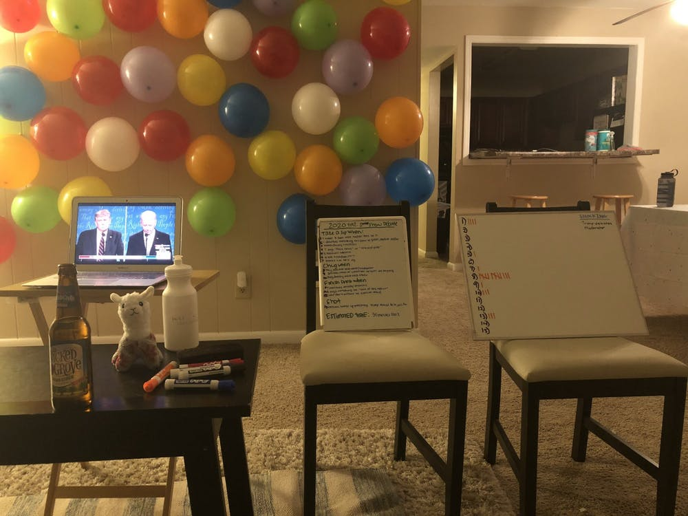 Students use drinking games and humor to cope with presidential debates