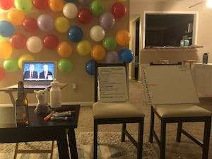 Some students played debate-themed drinking games with the first debate between former Vice President Joe Biden and President Donald Trump. Photo courtesy of Marcella Pansini.