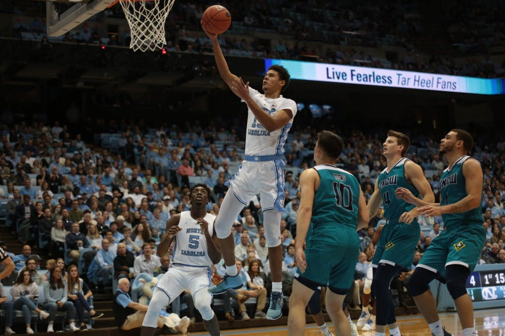 No. 14 UNC men's basketball bounces back from road loss with 97-69 home win over UNCW