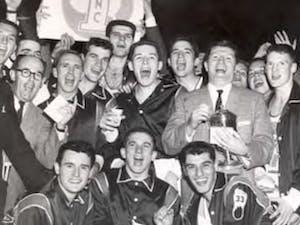 The UNC 1957 men's basketball team celebrates its win. Photo courtesy of North Carolina Collection.