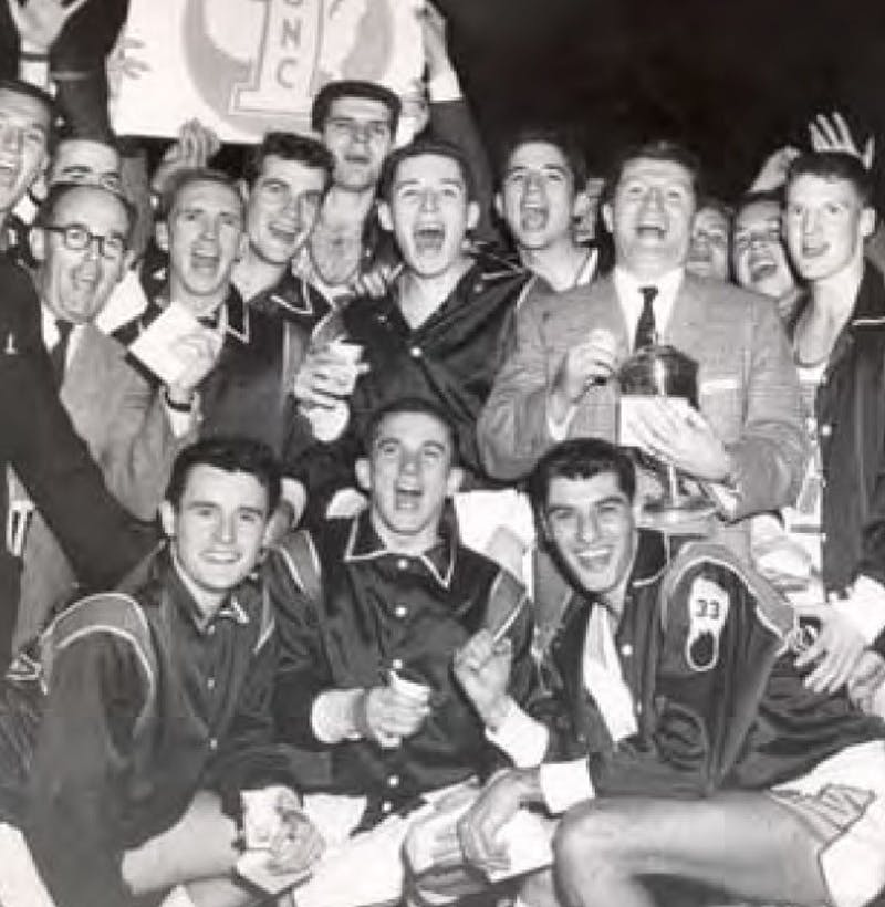 The UNC 1957 men's basketball team celebrates its win. Photo courtesy of North Carolina Collection.