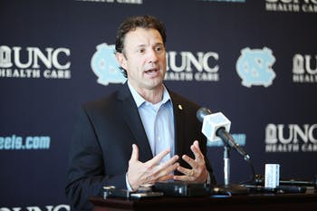 Head Football coach Larry Fedora speaks at National Signing Day in Kenan Stadium Wednesday.