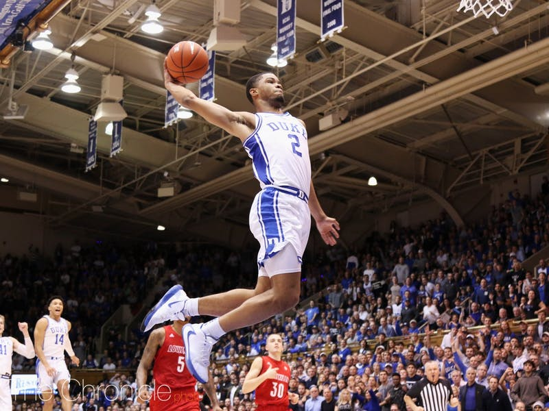 Duke's first-year guard (2) Cassius Stanley attempts to score during their game against Louisville on Saturday, Jan. 18, 2020. Photo by Eric Wei, courtesy of The Chronicle.