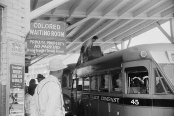 A segregated bus station in Durham, North Carolina, in 1940. Photo by Jack Delano, courtesy of the Library of Congress.