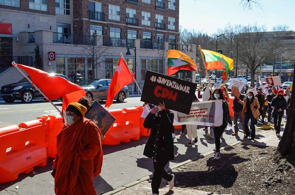 <p>Protesters gather on Franklin Street for a demonstration against the military coup in Myanmar on Feb. 20, 2021.</p>