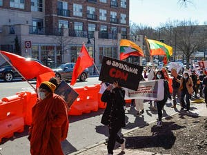 Protesters gather on Franklin Street for a demonstration against the military coup in Myanmar on Feb. 20, 2021.