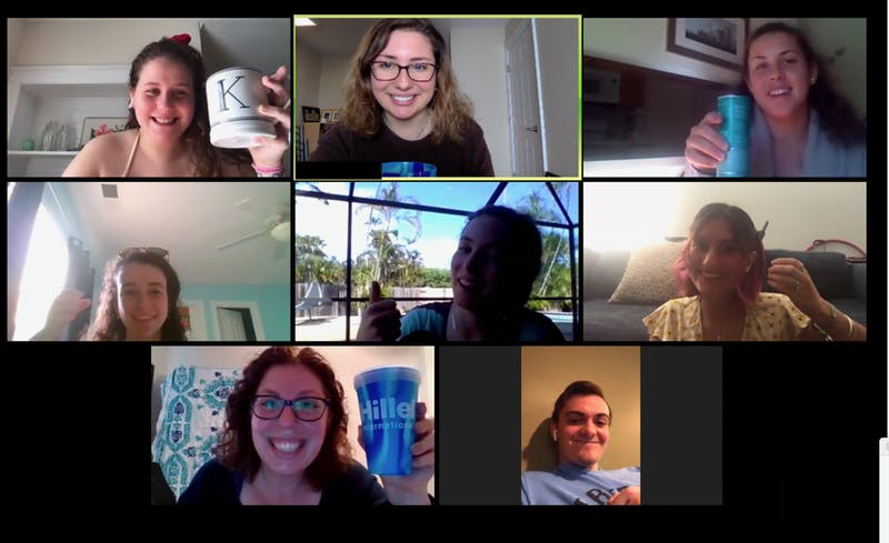 UNC Hillel celebrates a recent Shabbat celebration conducted via Zoom. Photo courtesy of Michelle Brownstein Horowitz.