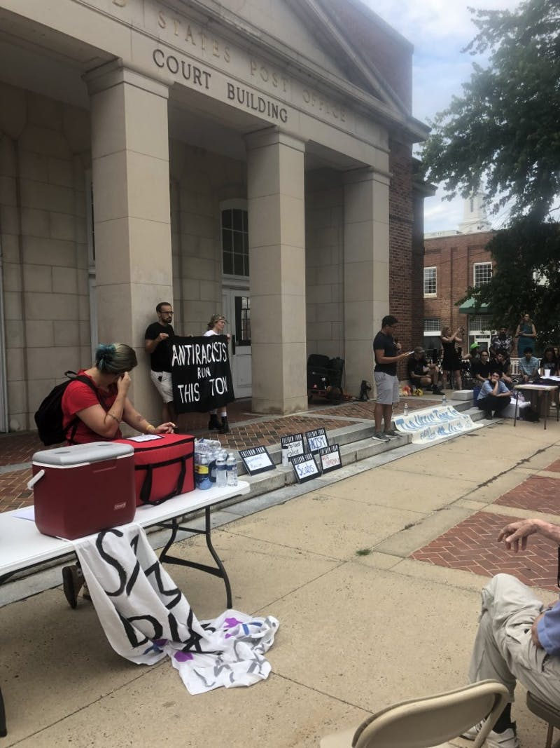 Jamison Lowery, president of the Carolina Indian Circle, delivered a land acknowledgement at the beginning of the Silent Sam birthday celebration. This named and acknowledged the Native American tribes who inhabited the land where UNC now stands.