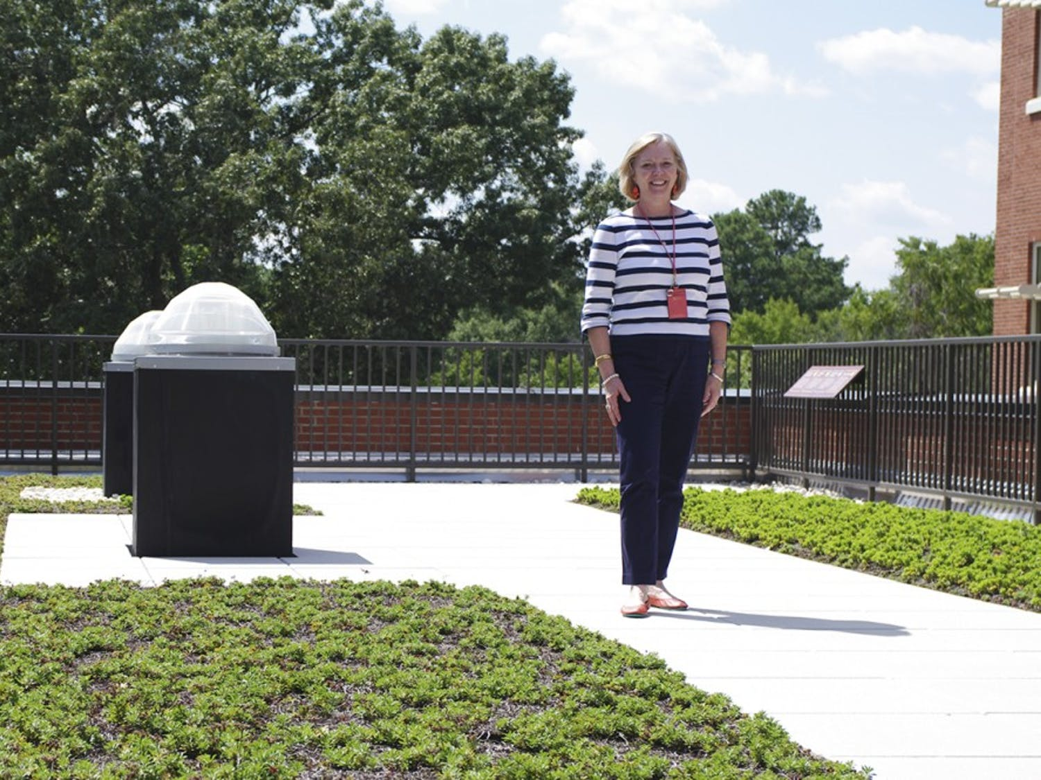 The principal of Northside Elementary,  Cheryl Carnahan, stood on the school's roof garden on August 14th, 2014. The garden contains several energy efficient features, including solar tubes and a rainwater cistern.