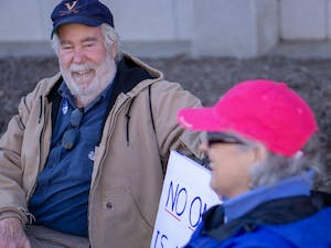 """Bill and Doloras Branch of Hillsborough, NC attend the 2019 Raleigh Women's March on Saturday, Jan. 26, 2019 to advocate for women's rights. When asked about abortion Bill Doloars said, """"I don't think anybody really likes it but the fact is, it's really a personal decision between a woman and the doctor. I don't think the government or for sections of the population should come and dictate what everybody else should be doing."""""""