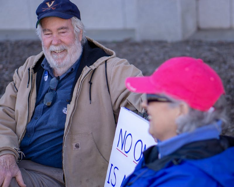 "Bill and Doloras Branch of Hillsborough, NC attend the 2019 Raleigh Women's March on Saturday, Jan. 26, 2019 to advocate for women's rights. When asked about abortion Bill Doloars said, ""I don't think anybody really likes it but the fact is, it's really a personal decision between a woman and the doctor. I don't think the government or for sections of the population should come and dictate what everybody else should be doing."""
