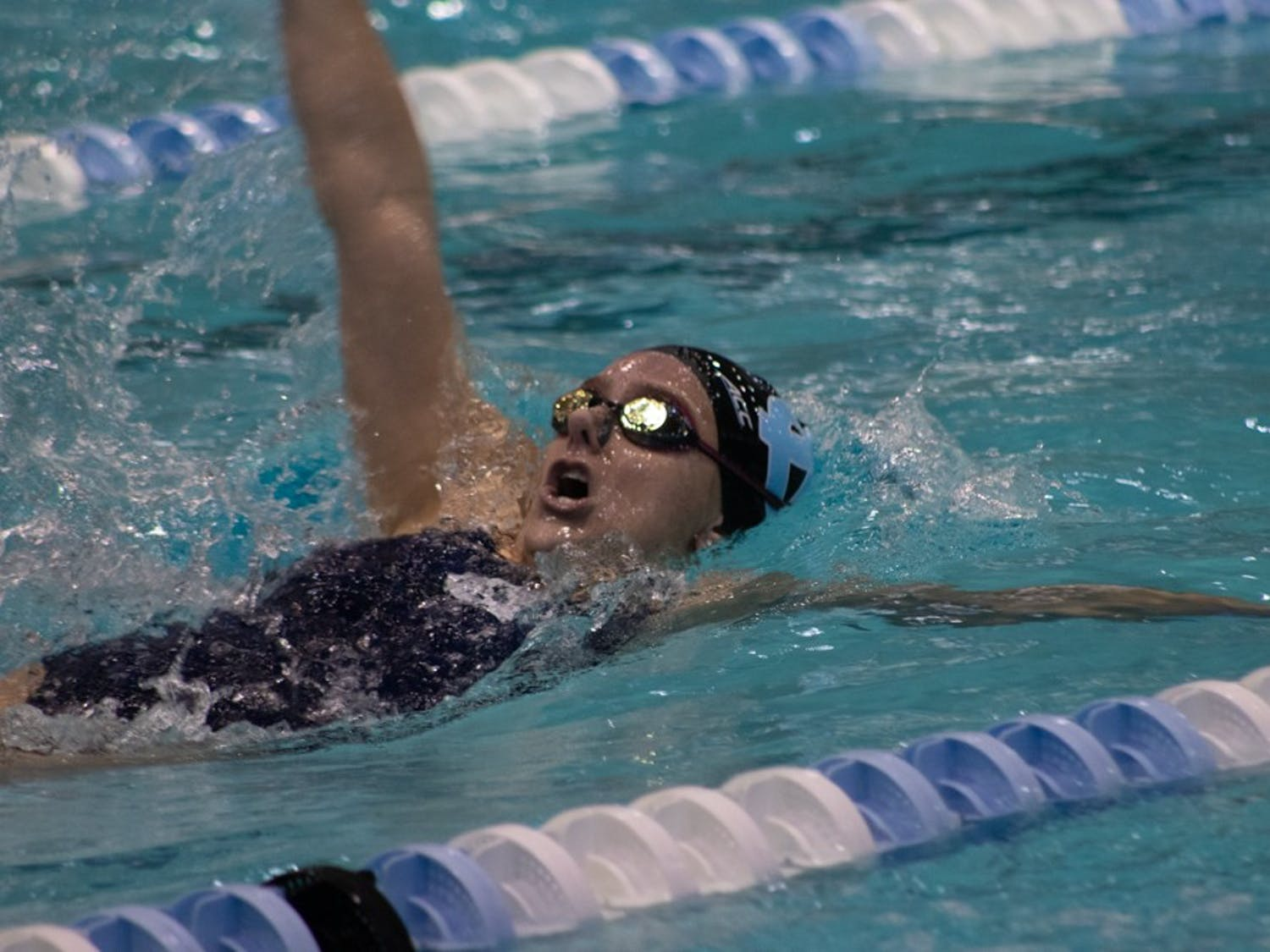 Junior Mary-O Soule competes in the Women's 200-yard backstroke against Georgia on Friday, Oct. 25, 2019 in Koury Natatorium. Georgia beat UNC's women 176-124 and men 163-137.