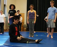 Elizabeth Streb, front, leads a master class Thursday afternoon at the Center for Dramatic Art. DTH/Daixi Xu