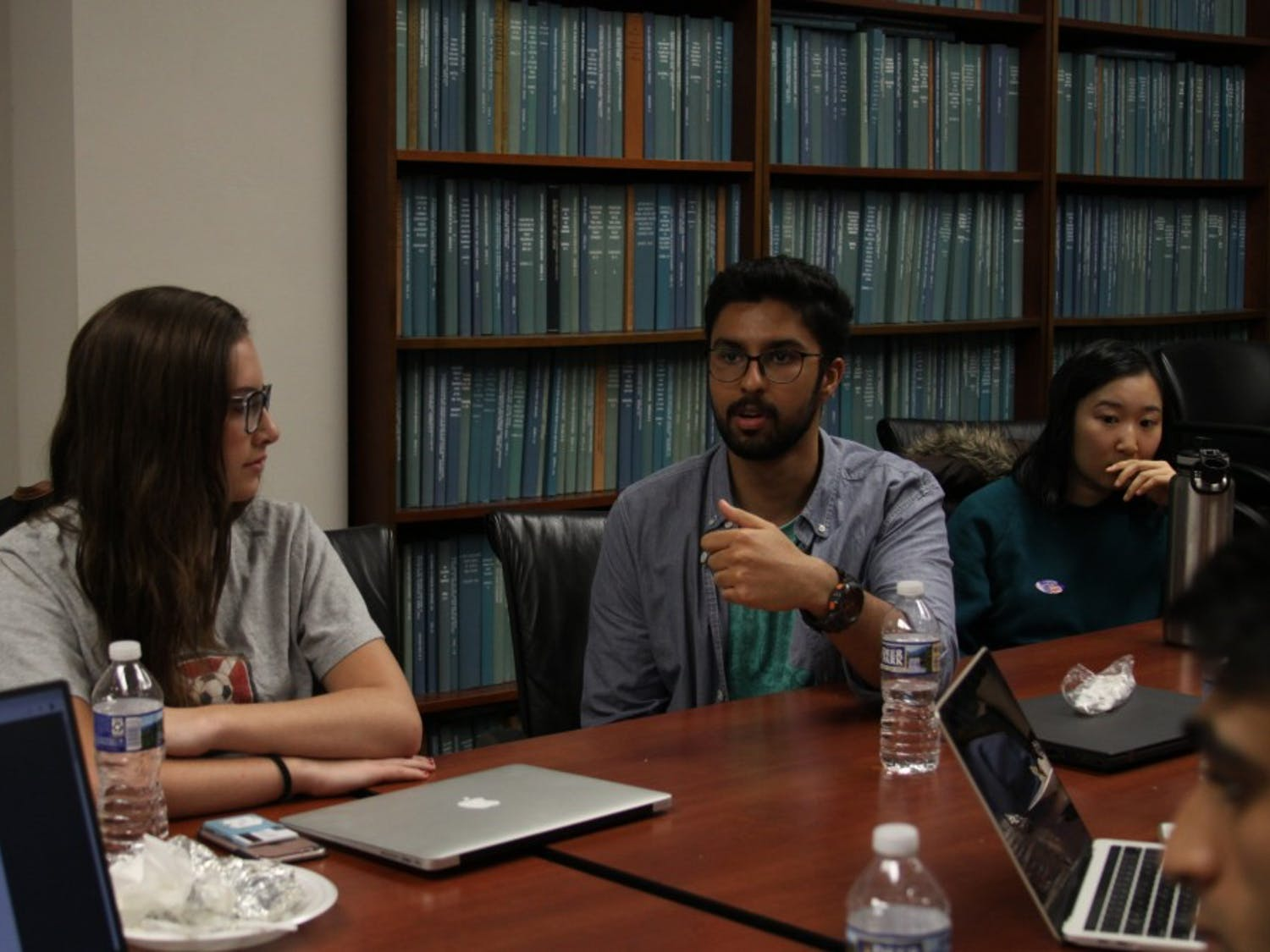 """Anamay Viswanathan, senior political science major, offers his thoughts during a group discussion at a meeting with the """"Tolerance in the Marketplace of Ideas"""" research fellowship in Davie Hall on Tuesday, Nov. 6, 2018."""