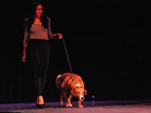 Sophomore Nicole Suarez from Miami walks down the runway of a fashion show hosted by UNC 's Helping Paws on Saturday to benefit the Orange County Animal Services Center's spay and neuter initiatives.