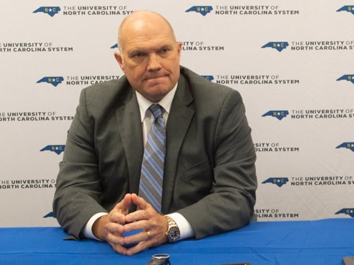 Chairperson Harry Smith discussed the status of higher education in North Carolina on Friday, Sept. 20, 2019 in a meeting of the UNC Board of Governors at the Friday Center.