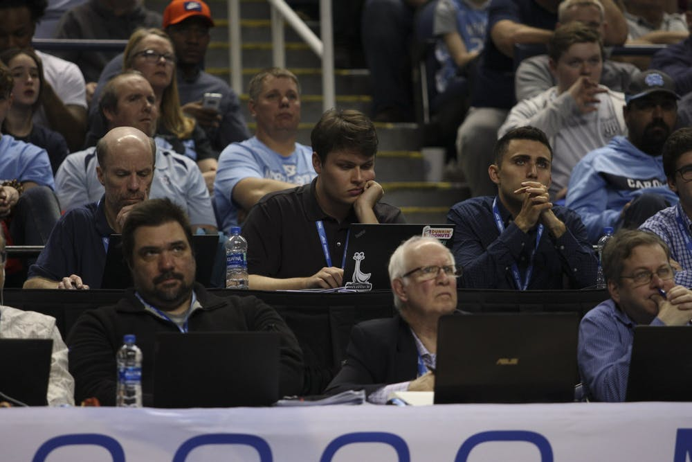 <p>Daily Tar Heel sportswriter Chapel Fowler at the 2020 ACC Tournament in Greensboro.</p>