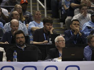Daily Tar Heel sportswriter Chapel Fowler at the 2020 ACC Tournament in Greensboro.