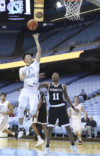 North Carolina guard Kane Ma (1) puts up a floater against Massanutten on February 22nd.