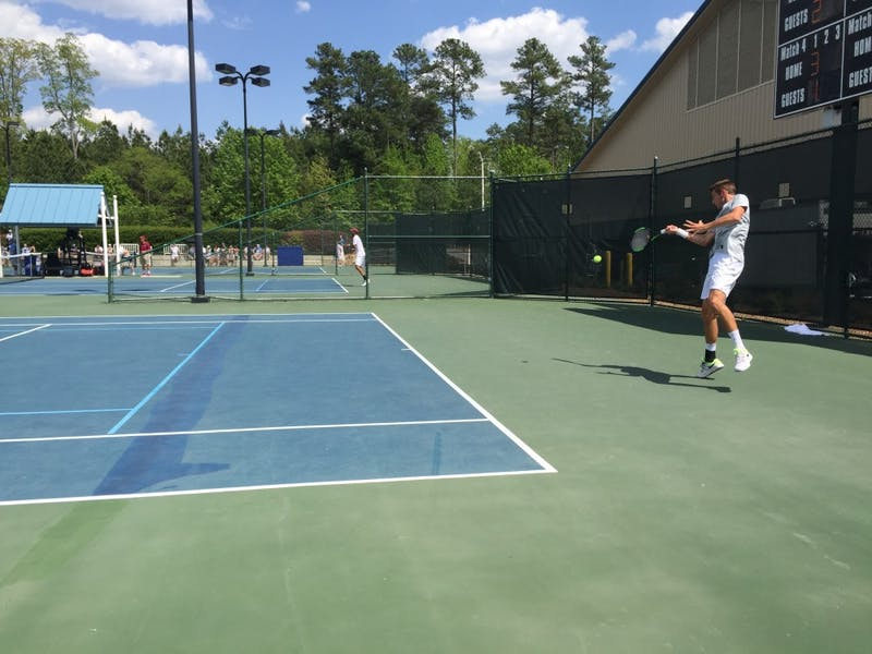 First-year Benjamin Siguoin competes in the ACC Championship semifinals against Florida State on April 28 at Cary Tennis Park.