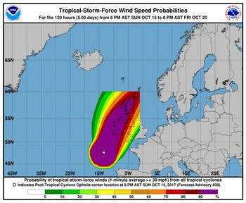 The projected path for Hurricane Ophelia. Photo courtesy of the National Oceanic and Atmospheric Administration.