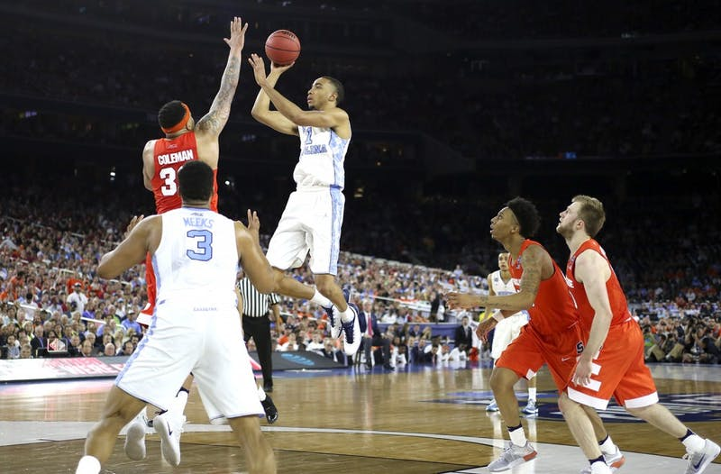 UNC forward Brice Johnson (11) takes a shot against Syracuse in the semi-finals of the NCAA Tournament. UNC took the victory with a score of 83 - 66.