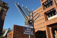 A menorah is placed outside the front of Lenoir Dining Hall by Chabad at UNC to celebrate Hanukkah, which begins on Sunday, Dec. 2, 2018 and ends Monday, Dec. 10, 2018. The menorah will be used at the menorah lighting in the Pit hosted by Chabad at UNC on Wednesday, Dec. 5, 2018.