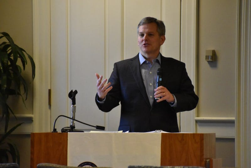 North Carolina Attorney General Josh Stein delivers a talk at UNC on January 24, 2018 about problems that affect college campuses.