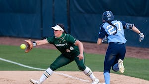 UNC sophomore Bri Stubbs is thrown out at first during Carolina's 11-4 loss to UNC Charlotte at Anderson Stadium in Chapel Hill on April 6, 2021.
