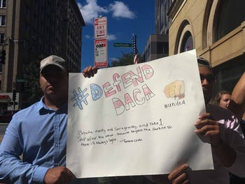 Protesters hold a sign during a demonstration in downtown Raleigh on Sunday, Oct. 1, 2017. About 250 people participated in the protest in support of DACA after President Donald Trump announced that he would phase out the program.