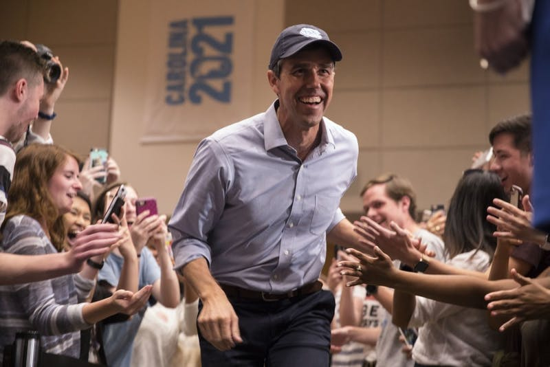 Democratic presidential candidate Beto O'Rourke visits UNC-Chapel Hill on Monday, April 15, 2019 in the Great Hall of the Student Union. The event was hosted by UNC Young Democrats.