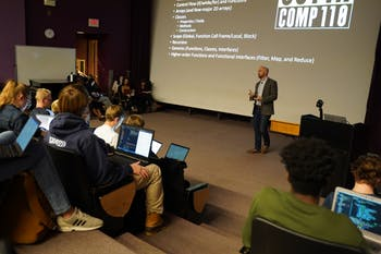 Computer science professor Kris Jordan testifies to the ways in which classroom technology that has been implemented over the past decade has changed the ways students are taught and engage in learning on Tuesday, Dec. 3, 2019.