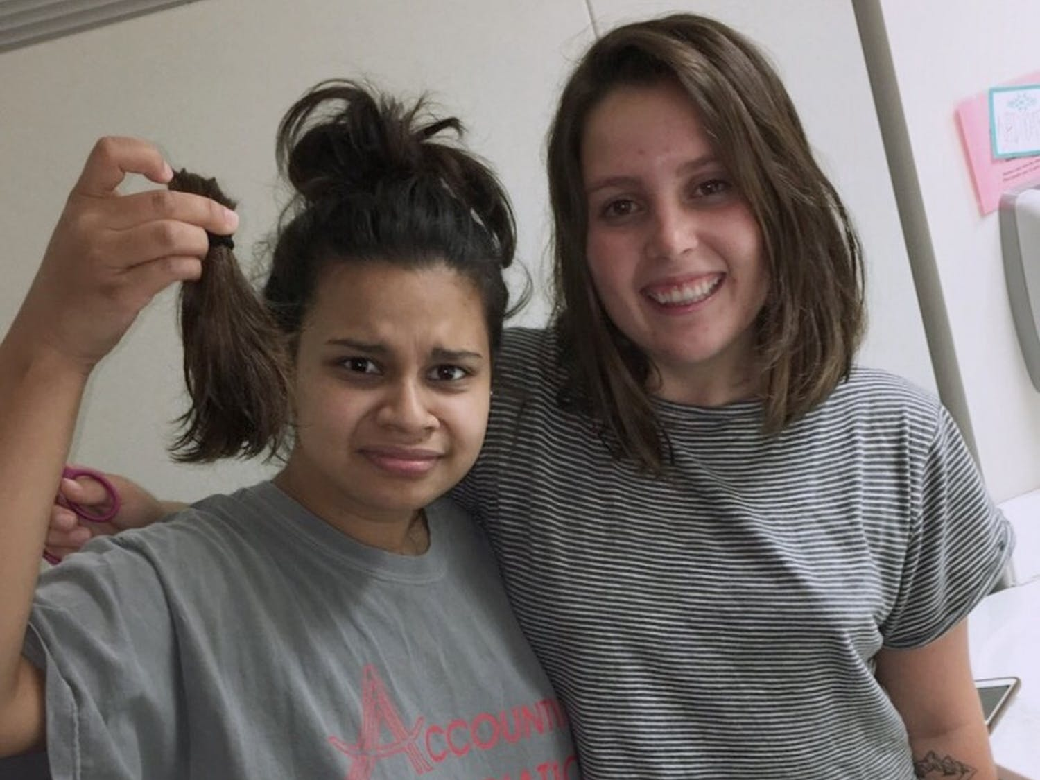 Kate Rice (right) is one of many UNC students who have had their hair cut by a friend. Photo courtesy of Kate Rice.