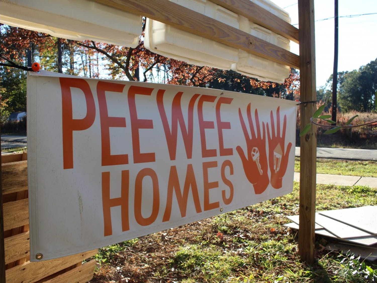 The sign for PeeWee Homes, a collection of tiny homes being developed for low income residents of Chapel Hill at The Episcopal Church of the Advocate on Wednesday, Oct. 24, 2018.