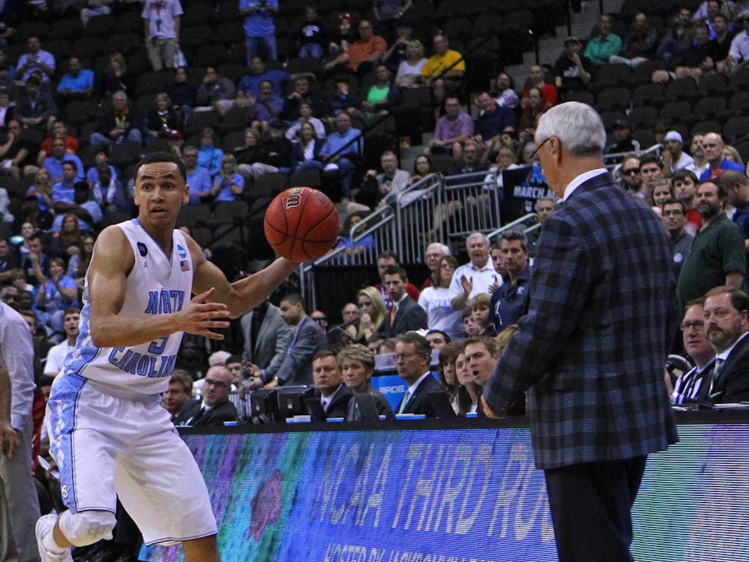 UNC guard Marcus Paige (5) stays inbound while looking to pass to a teammate. The Tar Heels defeated the Arkansas Razorbacks, 87-78, on Saturday in Jacksonville, Fla.