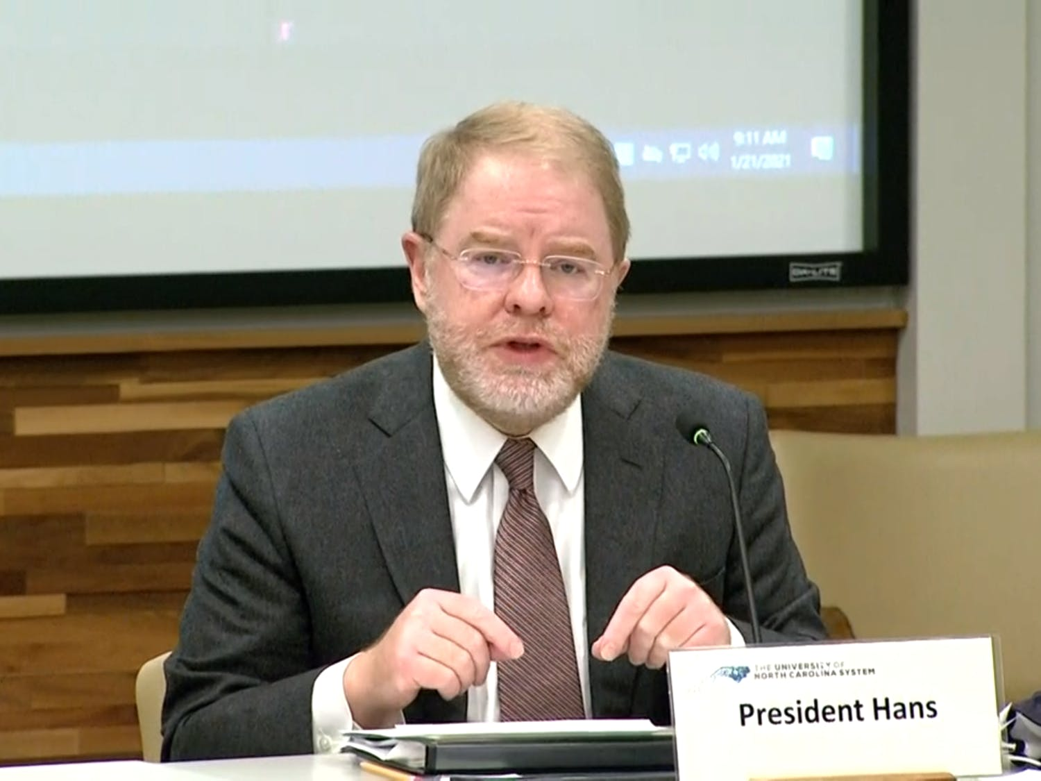 The UNC System President Peter Hans speaks at a meeting of the Board of Governors on Jan. 21, 2021. The BOG met to discuss safety concerns and vacant board positions.