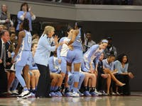 Tar Heel Head Coach Sylvia Hatchell instructs the UNC Women's Basketball team during UNC's 64-51 win against NC State at Reynolds Coliseum on Sunday, Feb. 3, 2019 in Raleigh, NC. The Tar Heels Women's Basketball Team (14-9) handed the Wolfpack (21-1) their first loss of the season.