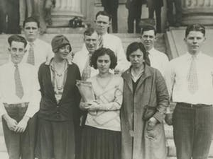 Nine individuals charged with the murder of Gastonia police chief O.F. Aderholt during the Loray Mill Strike were acquitted, October 21, 1929. Photo courtesy of Gaston County Museum of Arts and History.