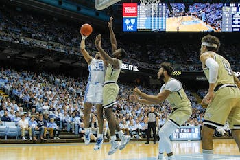 UNC forward Garrison Brooks (15) shoots the ball during the game against Georgia Tech in the Smith Center on Saturday, Jan. 4, 2020.