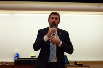 Student body president candidate Ryan Collins speaks during the debate on Monday, Feb. 10, 2020. The candidates debated civic engagement, graduate student needs, diversity and police conduct, among other topics.