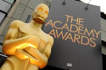 A view of an Oscar statue outside the 84th Annual Academy Awards show at the Hollywood and Highland Center in Los Angeles on February 26, 2012. (Lionel Hahn/Abaca Press/TNS)