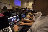 Sophomores Zane Geiser and Matt Gilleskie use Poll Everywhere to answer questions during lecture in Comp 110.