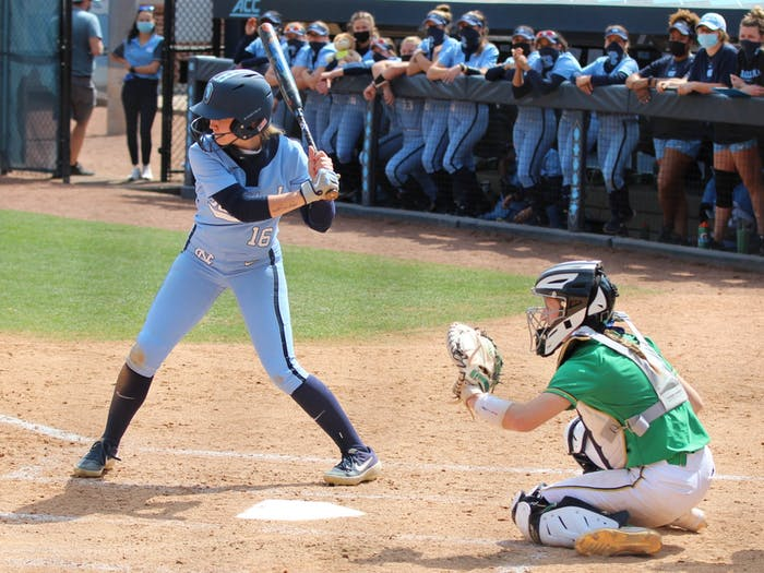 UNC first-year middle infielder and outfielder Kiannah Pierce (16) prepares to bat during the Tar Heels' 2-1 win against Notre Dame at Anderson Stadium on March 14, 2021.