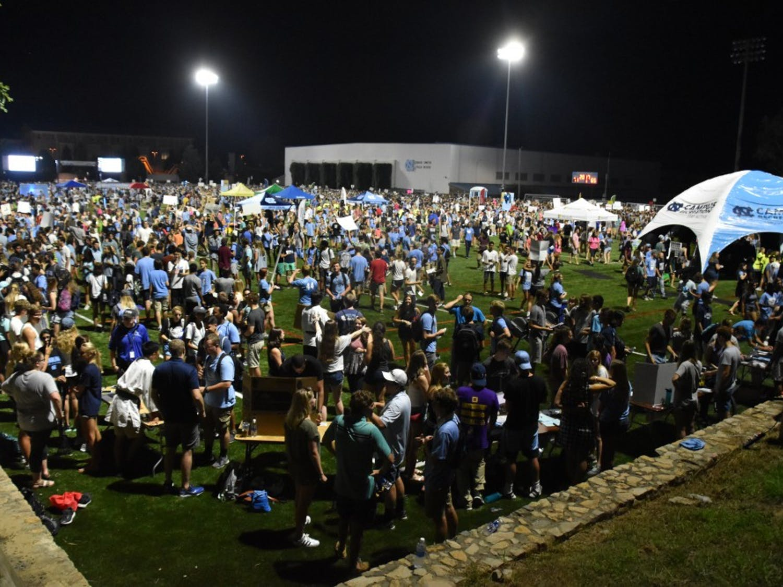 Students gather on Hooker Fields for FallFest in 2017.
